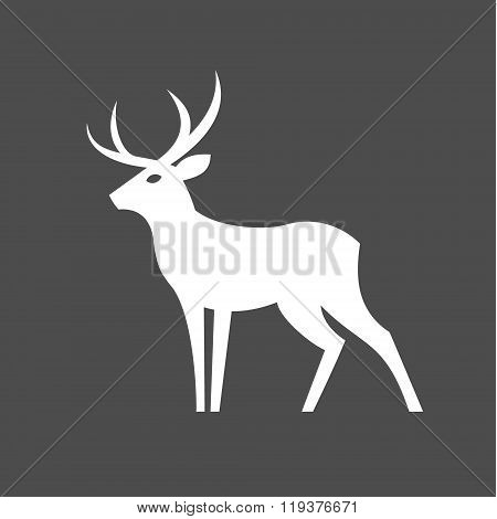 Monochrome Deer with antlers logo illustration for the brand in a modern minimalist design, plastic