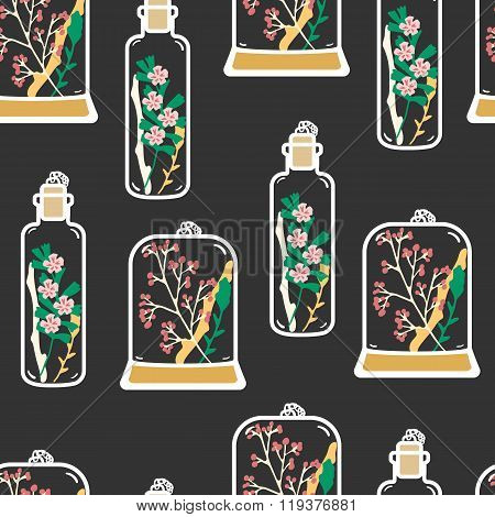 Seamless pattern with hand drawn floral terrariums