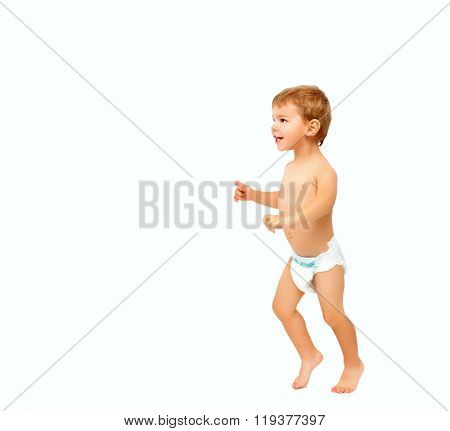 First steps of happy baby boy isolated on white