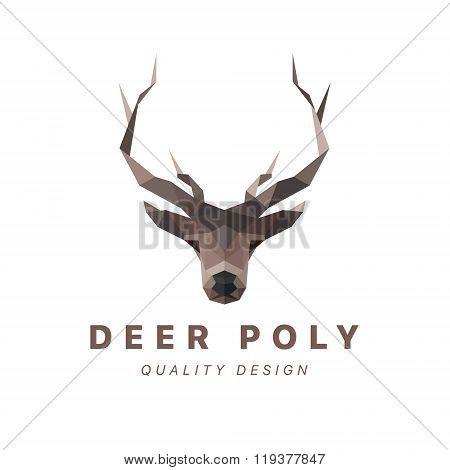 Deer low poly logo vector illustration polygons horned