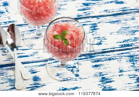 Delicious Summer Dessert - Fresh Grapefruit Sorbet. On Light Wooden Background