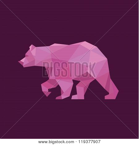 Grizzly Bear polygons red trend style logo design illustration animal