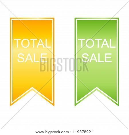 Total Sale Stickers Set. Vector.