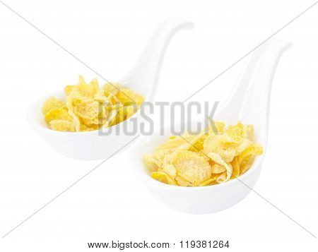 Corn Flake Snack  In Spoon On Top View