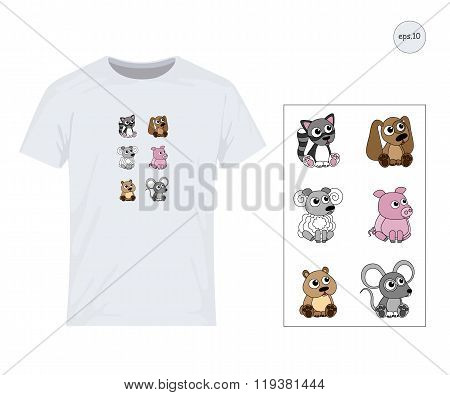Livestock, cat, dog, pig, hamster, sheep, mouse. Vector design for printing on T-shirts