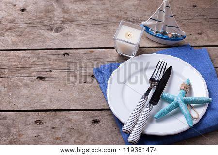 Table Setting For Summer, Sea  Or Ocean Theme.
