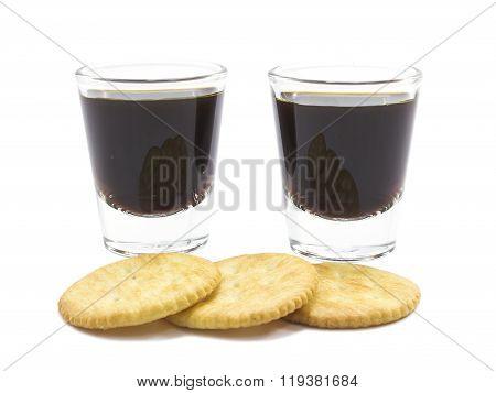 Coffee Espresso Shot And Cracker