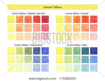 Lemon Yellow - Watercolor Mixing Chart