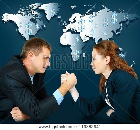 Business success strategy concept. Business people wrestling on world map background