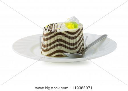 multilayer biscuit cake on the plate