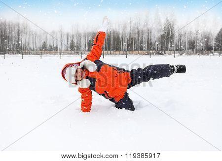 Child Tumbles In Snow