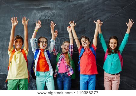 Ecstatic schoolkids
