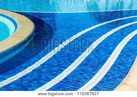 Soft Focus Water Surface, Sun Light Reflect, Water Wave Outdoor Swimming Pool