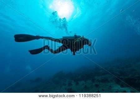 Young female scuba diver silhouette swimming underwater