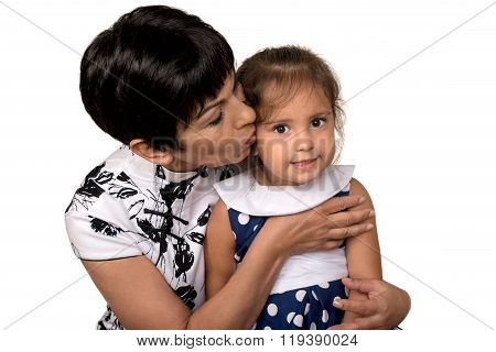 Grandmother With Grandchild - Senior Woman Holding Her Granddaughter. Isolated
