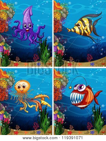 Sea monsters swimming under the sea illustration