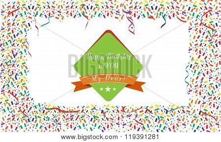 Cute Colorful confetti and streamers. Background. Illustrated vector