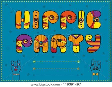 Inscription Hippie Party. Funny Orange Letters