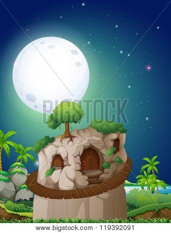 Stonehouse on fullmoon night illustration