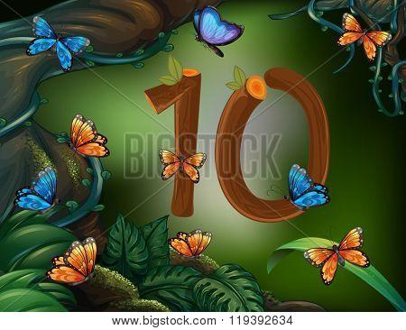Number ten with 10 butterflies in the garden illustration