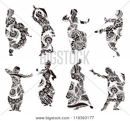 Silhouettes Indian Dancers In Mehndi Style