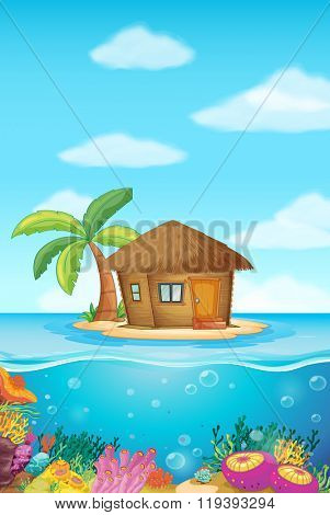 Wooden hut on the island illustration