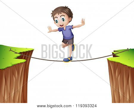 Boy balancing on the rope illustration