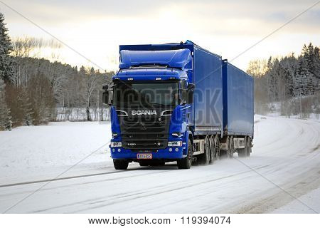 New Scania Cargo Truck On Winter Road