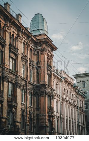 The View of the European home with window. Travel in Saint Petersburg, Russia.