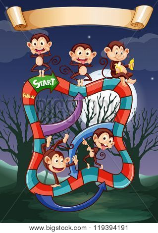 Game template with monkeys playing at night illustration