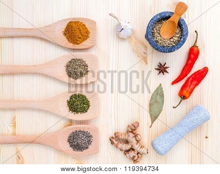 Cooking Ingredients. Dried Spices and Herbs