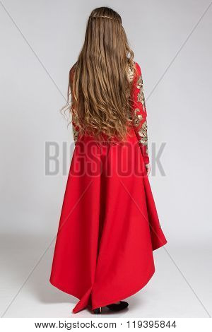 Back View Of A Woman In Red Dress With Long Beautiful Hair