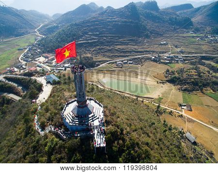 Lung Cu flag tower from drone in Hagiang, Vietnam