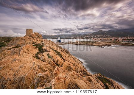 Genoese Tower At La Pietra In Ile Rousse In Corsica
