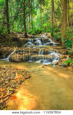 Wonderful Waterfall In Thailand, Pugang Waterfall Chiangrai