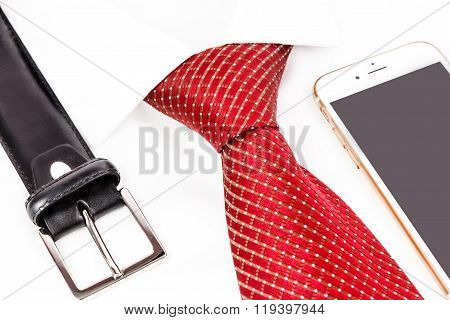 tie knotted double Windsor with accessories