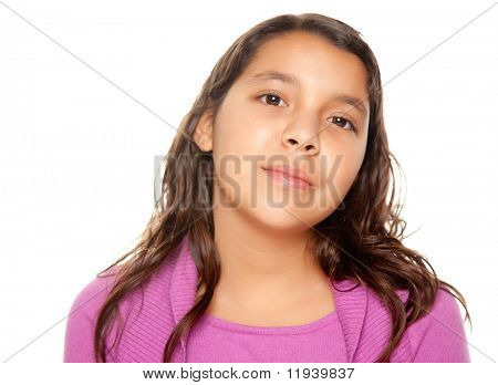 Pretty Hispanic Teen Girl Portrait Isolated on a White Background.