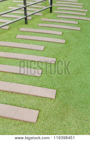 Artificial Grass With Wooden stairs