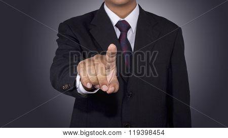 Businessman Pushing Button blank Icon