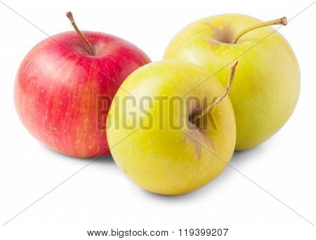 Yellow apple in front of red one