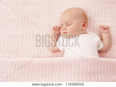 Newborn Baby Sleeping, New Born Kid Girl Sleep On Pink