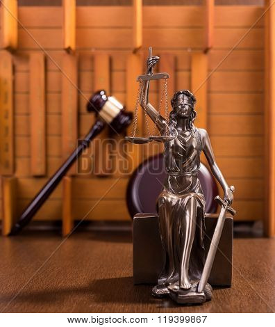 justice and Wooden gavel, law concept