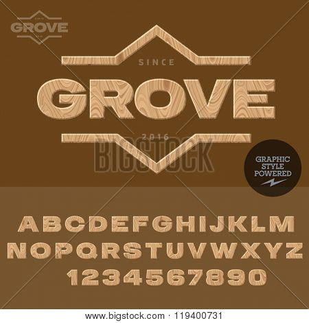Wood logotype for for woodcutting industry. Vector set of letters and  numbers.