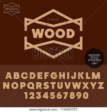 Wooden logotype wood work and shop. Vector set of letters and  numbers