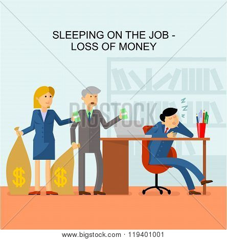 Flat image: man sleeping on the job in the office. Customers come with bags of money and holding money in his hands.