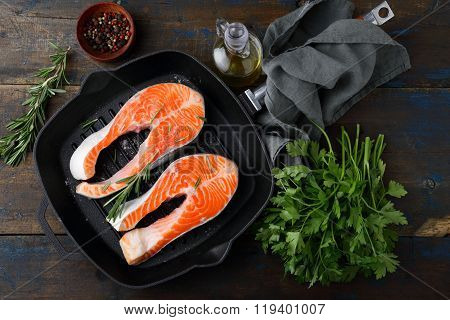 Salmon Steak On Griddle Pan And Rosemary, Parsley, Spice