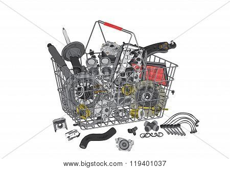 Many images of spare parts