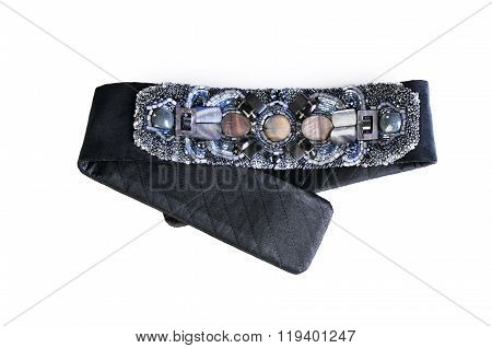 Belt From Cloth With Beads And Stones Isolated On White
