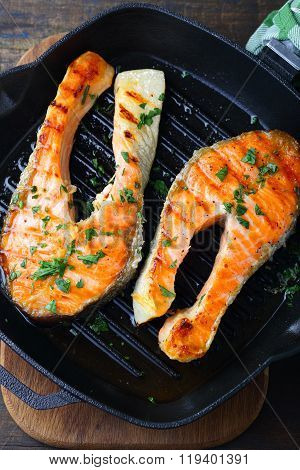 Roasted Salmon Steak On A Griddle Pan