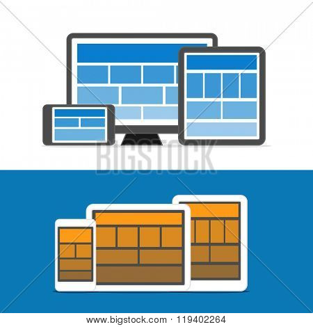 Adaptive design layouts. Web site page templates collection on different devices